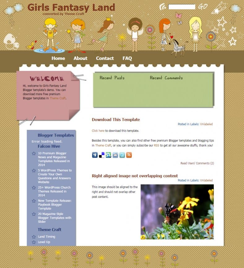 girls fantasy land cartoon blogger responsive template 788x863