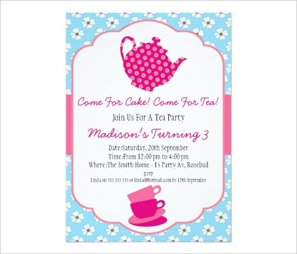 Girls Tea Party Birthday Invitation