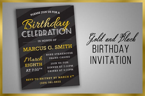 gold black birthday party foraml invitation template