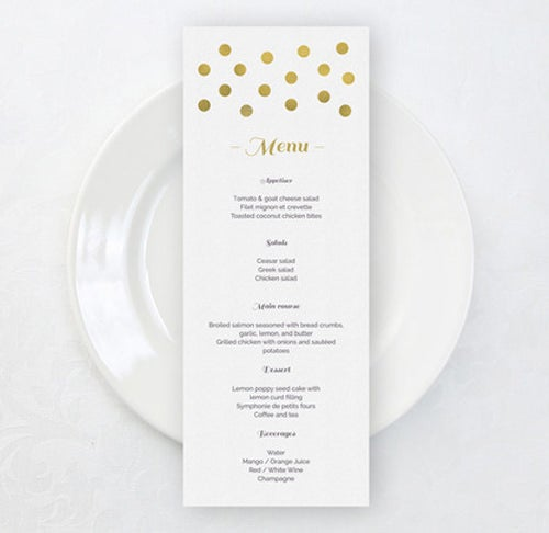gold dot wedding menu template