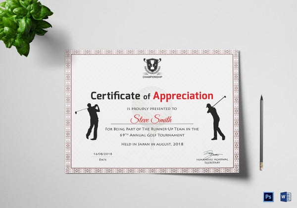 golf certificate of appreciation template