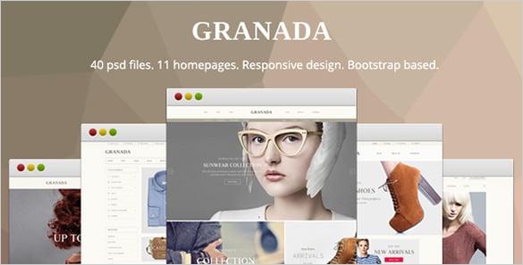 granada responsive ecommerce psd template