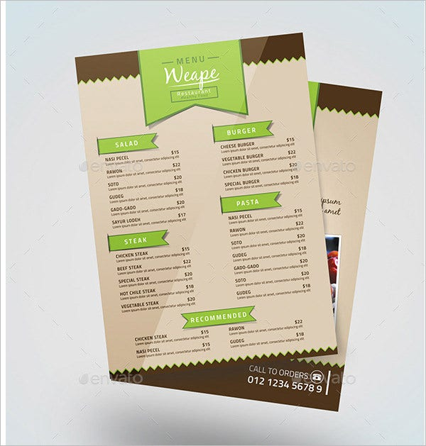 green food menu template