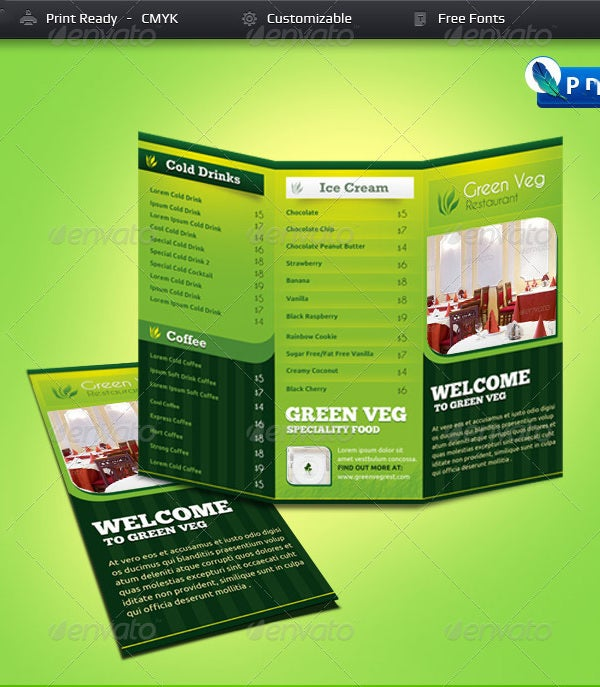 green veg restaurant tri fold menu card