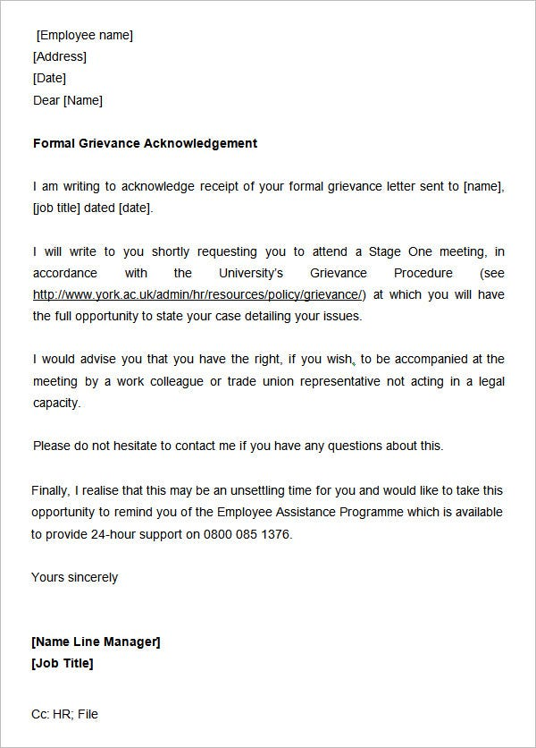 31 acknowledgement letter templates free samples for Grievance appeal letter template