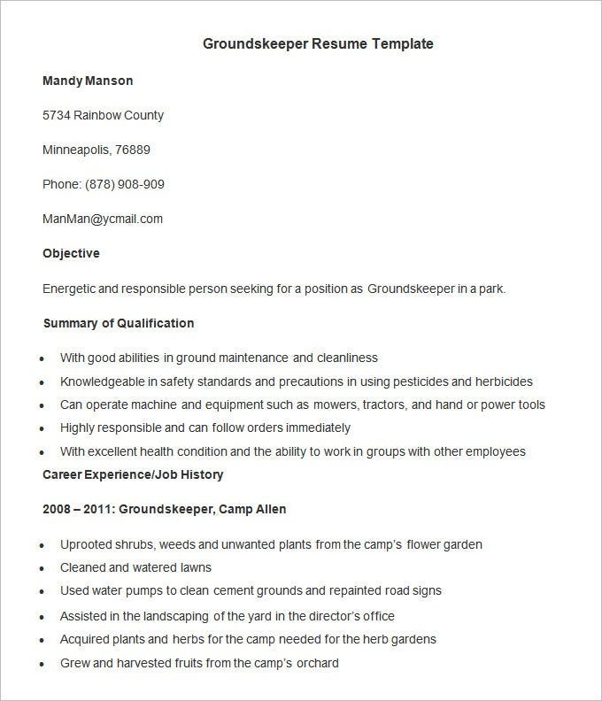groundskeeper resume template free download