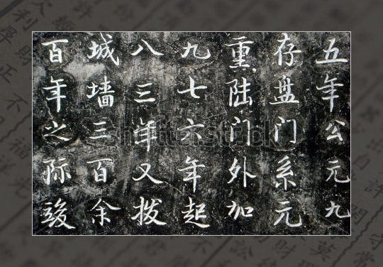 grunge chinese calligraphic alphabet letters