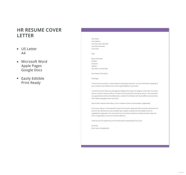 hr resume cover letter template