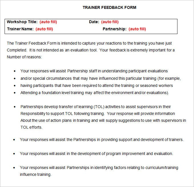 Workshop Feedback Form Special Education Teacher Evaluation Form