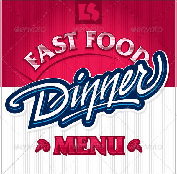 hand lettering design dinner menu template