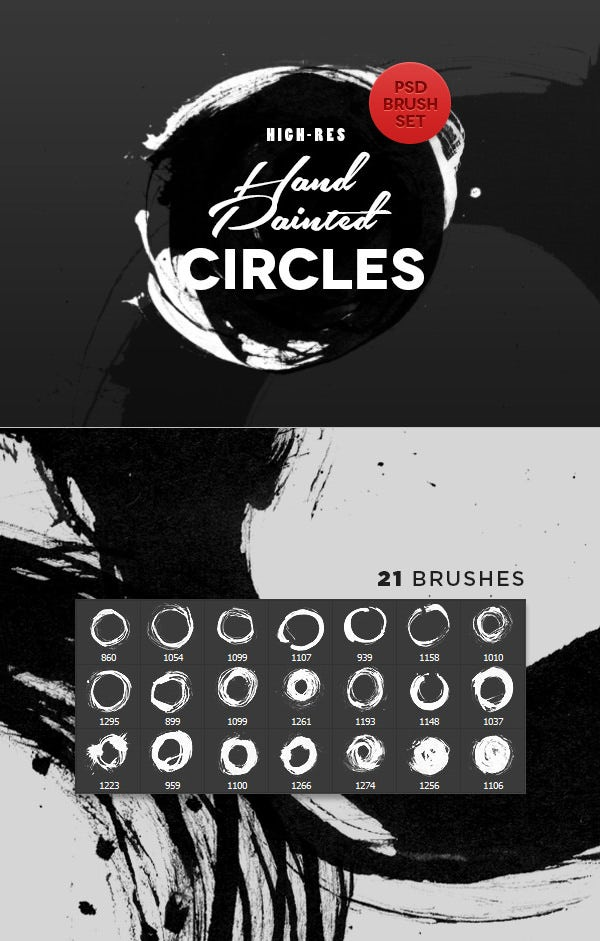 hand painted circles photoshop brushes