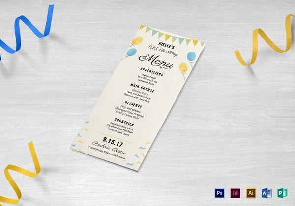 happy birthday menu indesign template