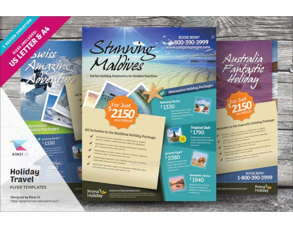happy holiday travel flyer template