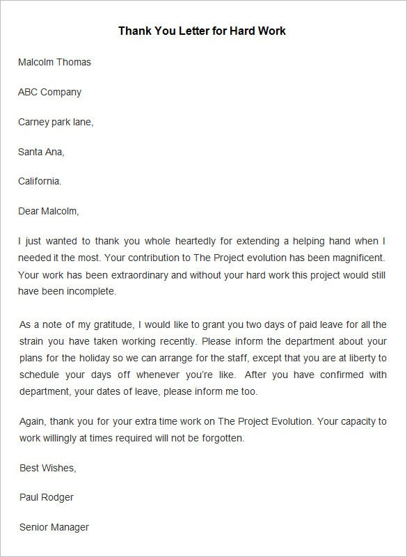 Charmant Employee Hard Work Thank You Letter Template