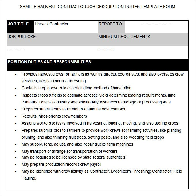 55 HR Job Description Templates HR Templates – Contractor Job Description
