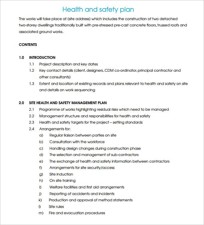 construction safety plan template 17 free word pdf documents