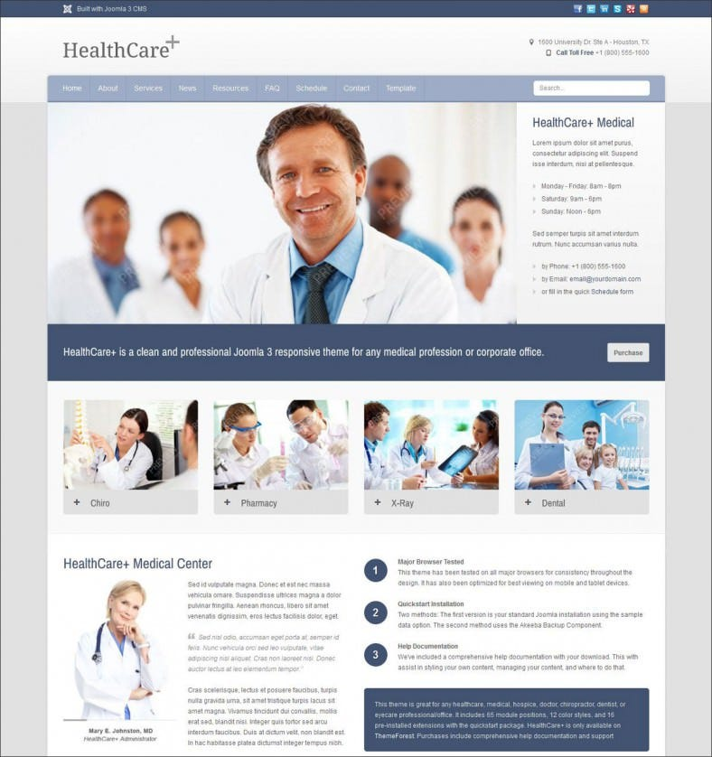 healthcare medical health joomla theme 788x838