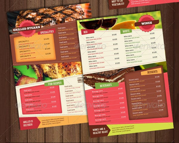 healthy food menu card
