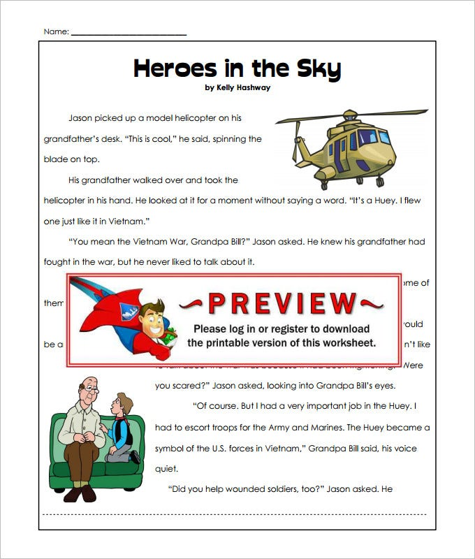 heros in sky language art worksheet template