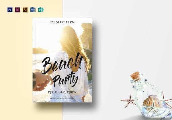 hipster beach summer flyer template