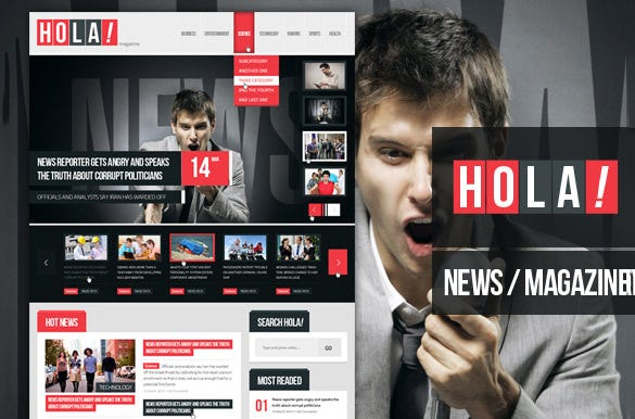 hola news magazine psd template