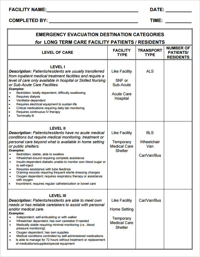 Emergency Evacuation Plan Template  NinjaTurtletechrepairsCo