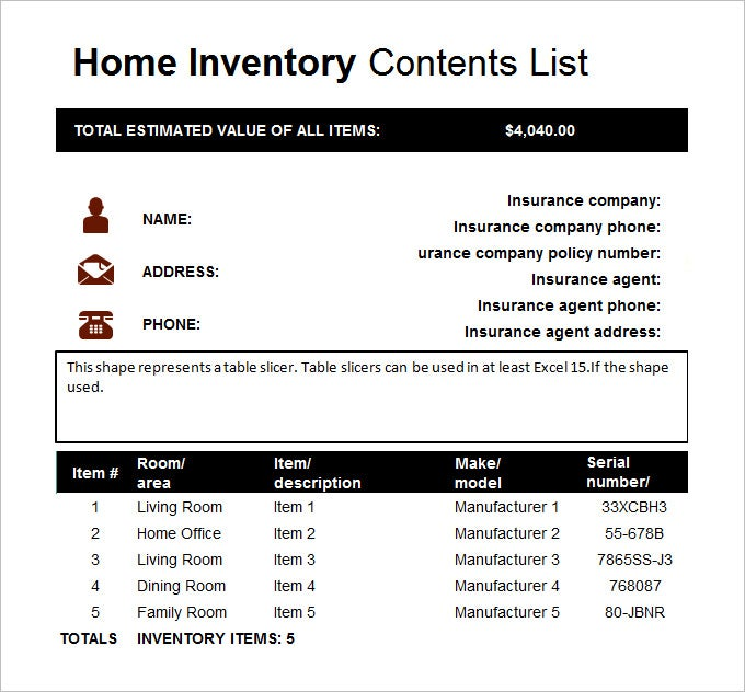 Home Inventory Template 7 Free Excel PDF Documents Download – Household Inventory List Template