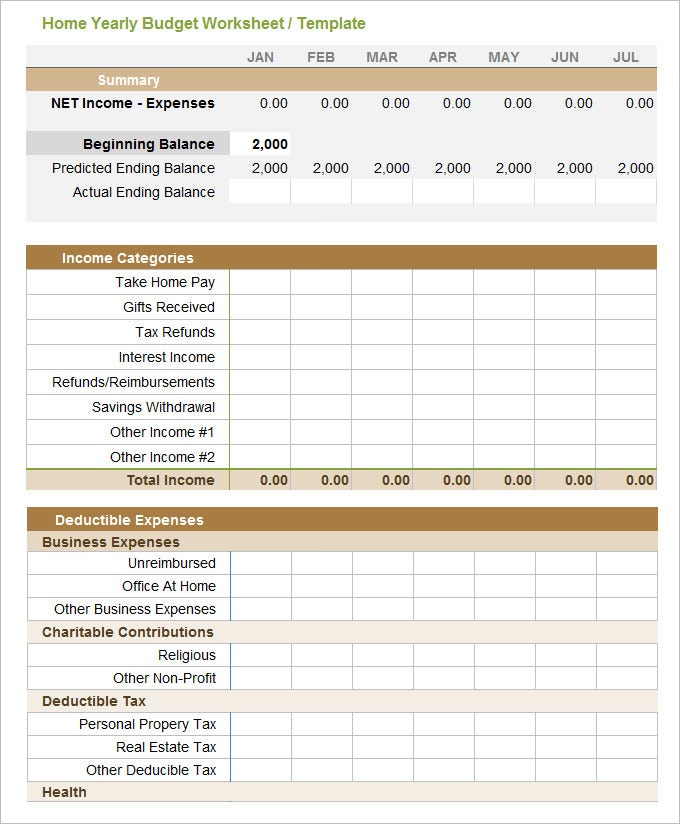 Yearly budget template excel home yearly budget worksheet templatega22558 accmission Gallery