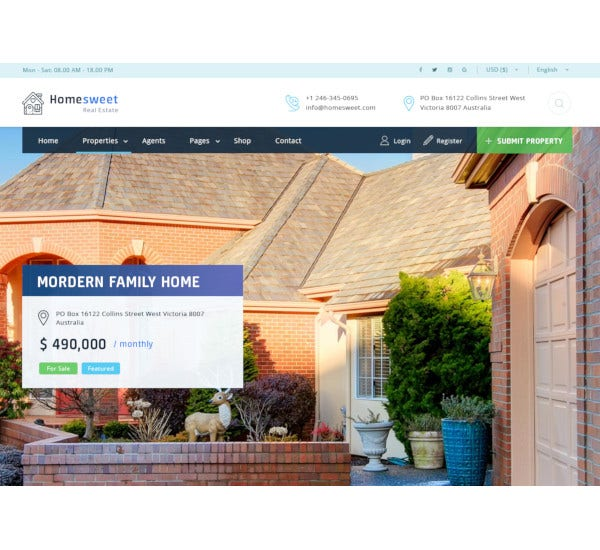 homesweet real estate psd template