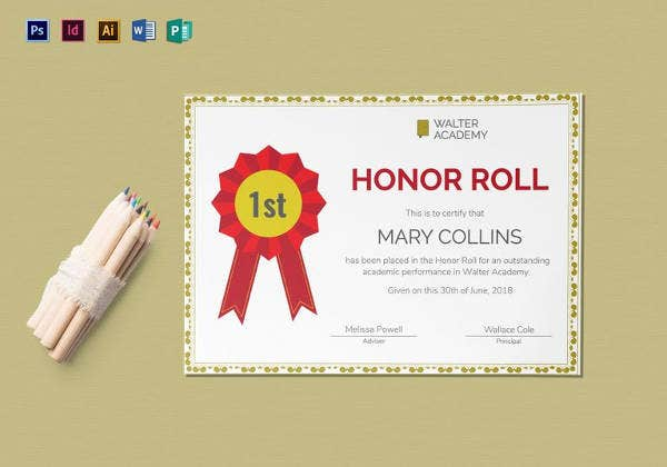 9 printable honor roll certificate templates free word pdf honor roll certificate template yelopaper Gallery