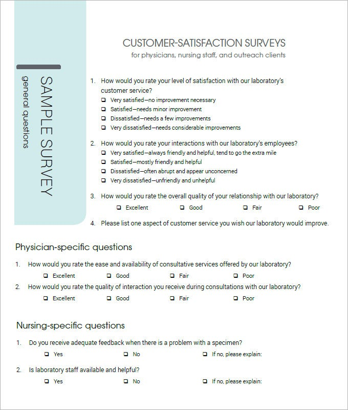 Customer Satisfaction Survey Template 5 Free PDF Word – Sample Client Satisfaction Survey