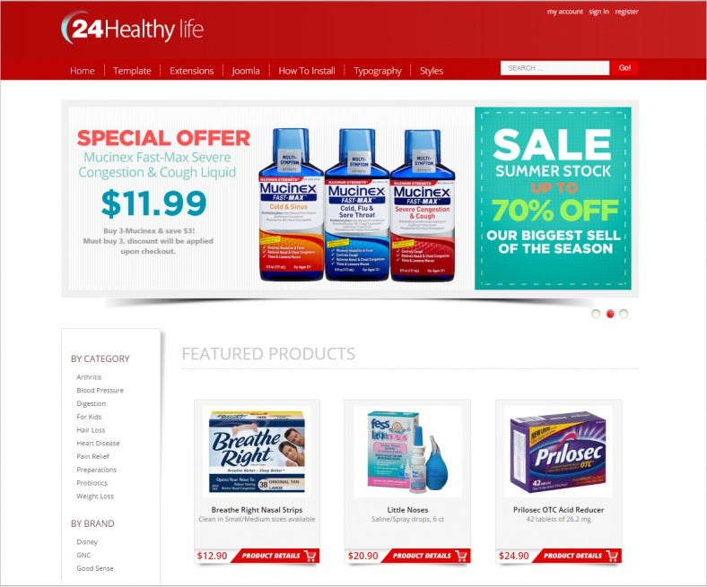 hot drug store joomla pharmacy template 788x655