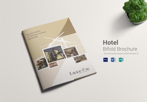 hotel bi fold brochure psd template