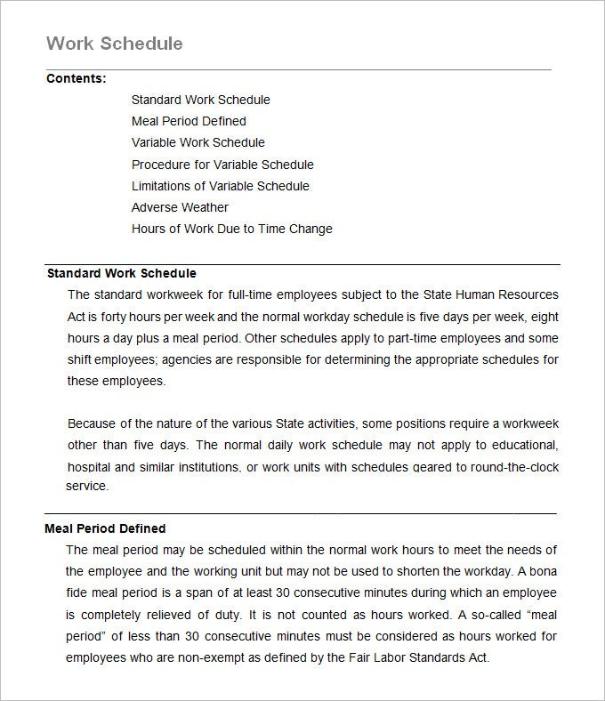 working hours policy template