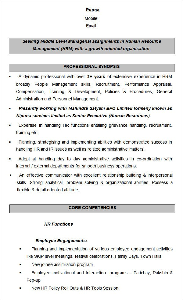 human resource management sample resume - Human Resource Resume Samples