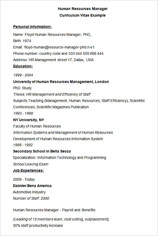 Human Resources Manager CV Example  Resume Or Curriculum Vitae