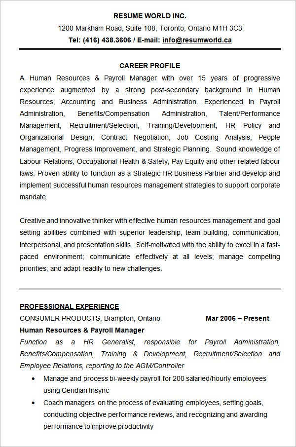 Hr Resume sample resume for hr manager Human Resources Resume Sample