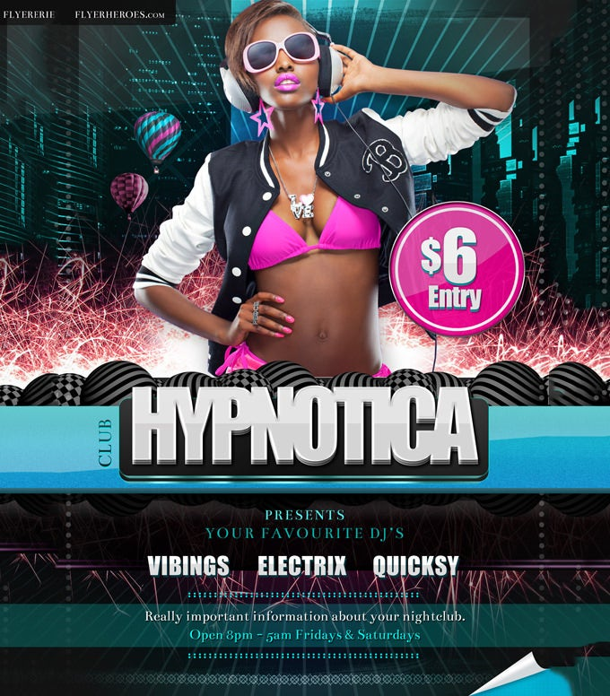 hypnotica club flyer template1