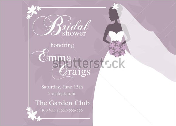 Illustration Wedding Shower Invitation Template  Bridal Shower Invitation Samples