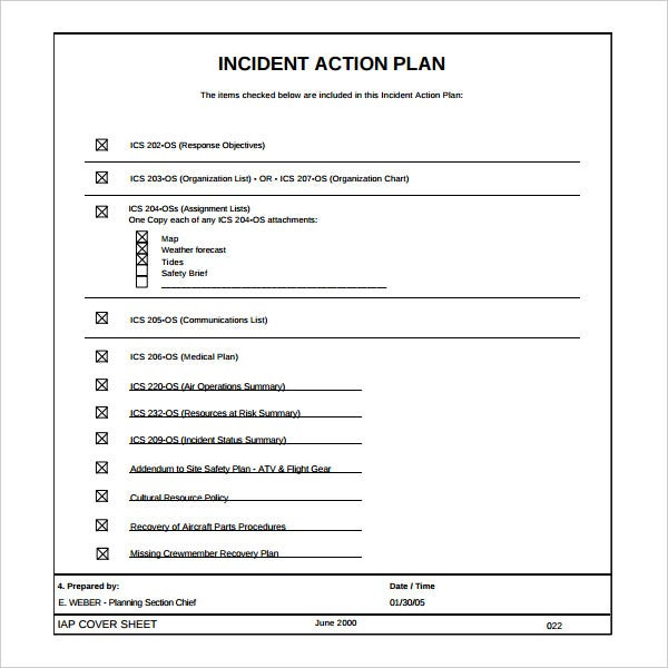 Incident Action Plan Template   Free Word Excel Pdf Format
