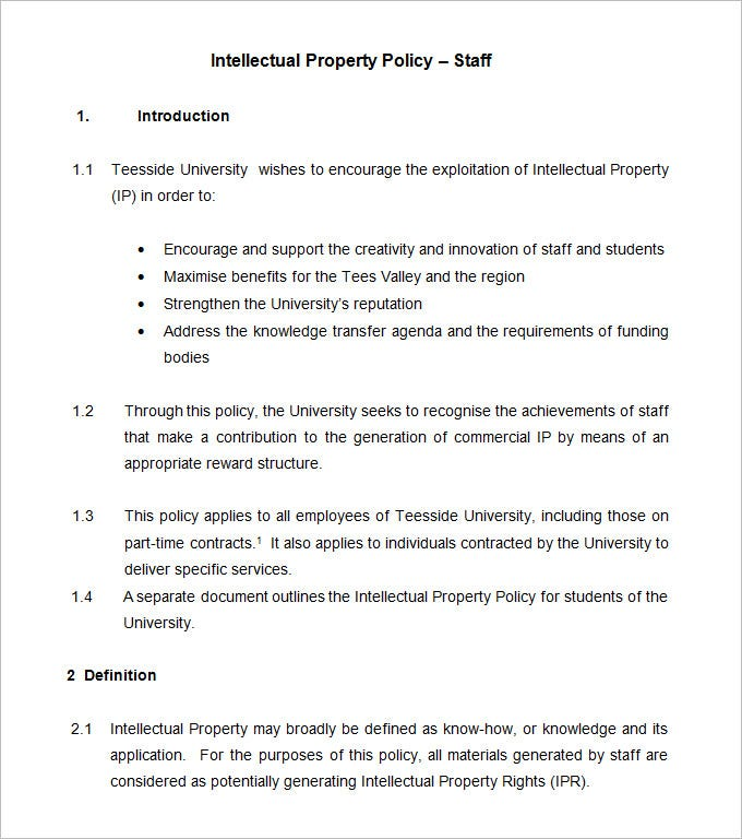 intellectual property policy template