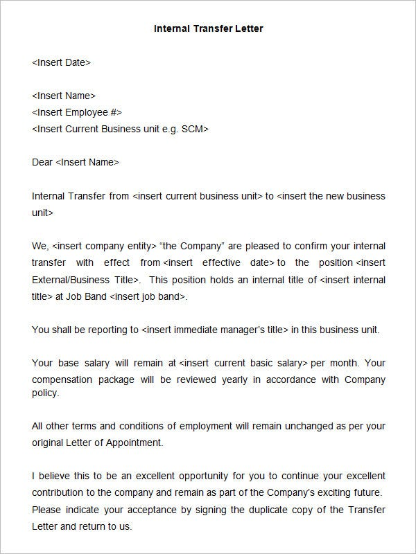 39 transfer letter templates free sample example for Internal transfer letter template
