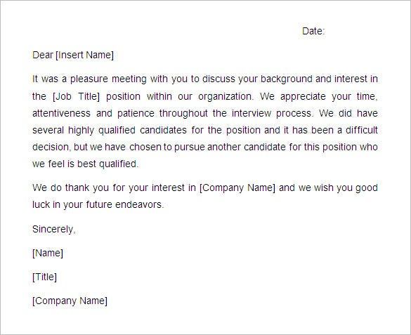 Application Rejection Letter Position Filled