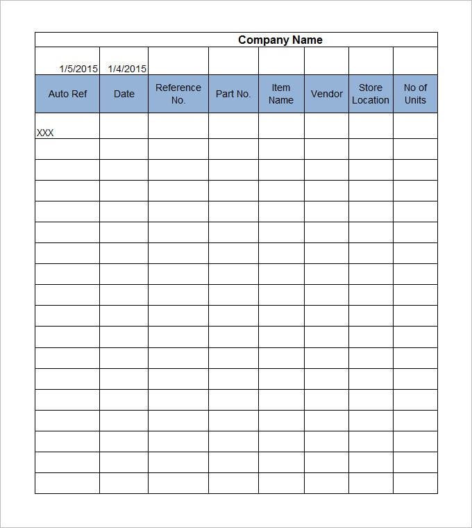 inventory management template free