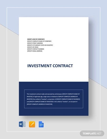 Investment Contract Simple Template