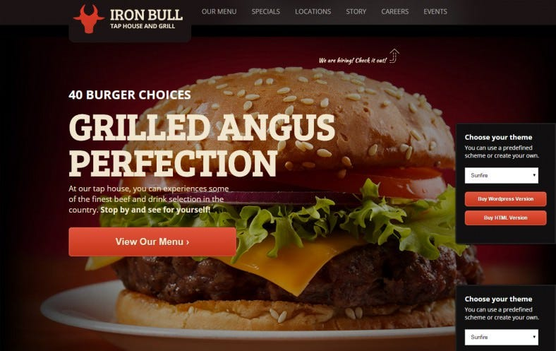 iron bull responsive restaurant template 788x497