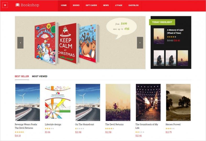 ja bookshop retail joomla template 788x540