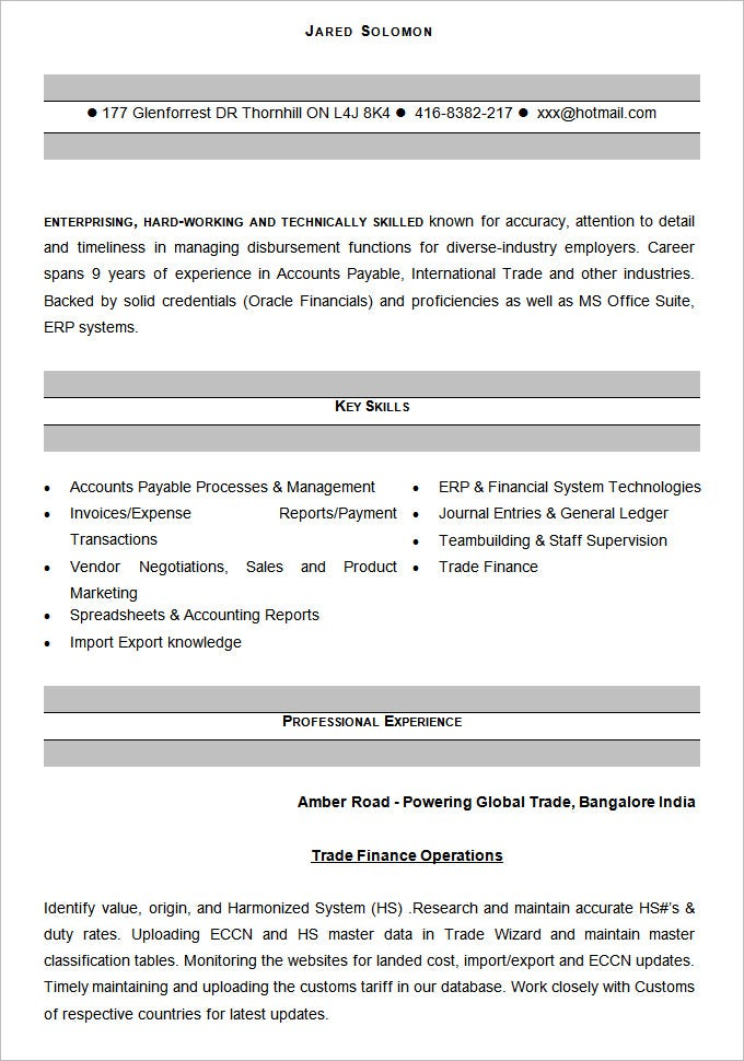 Accounting Resume Template   Free Samples Examples Format