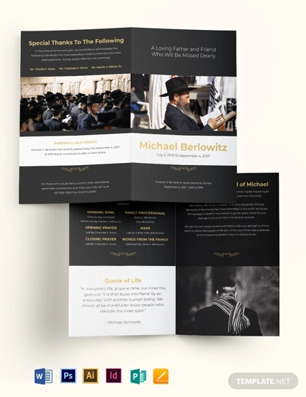 jewish eulogy funeral bi fold brochure template