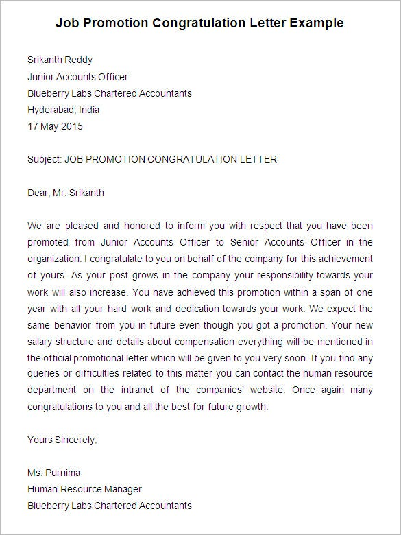 Job Promotion Congratulation Letter Example  Samples Of Cover Letters For Employment